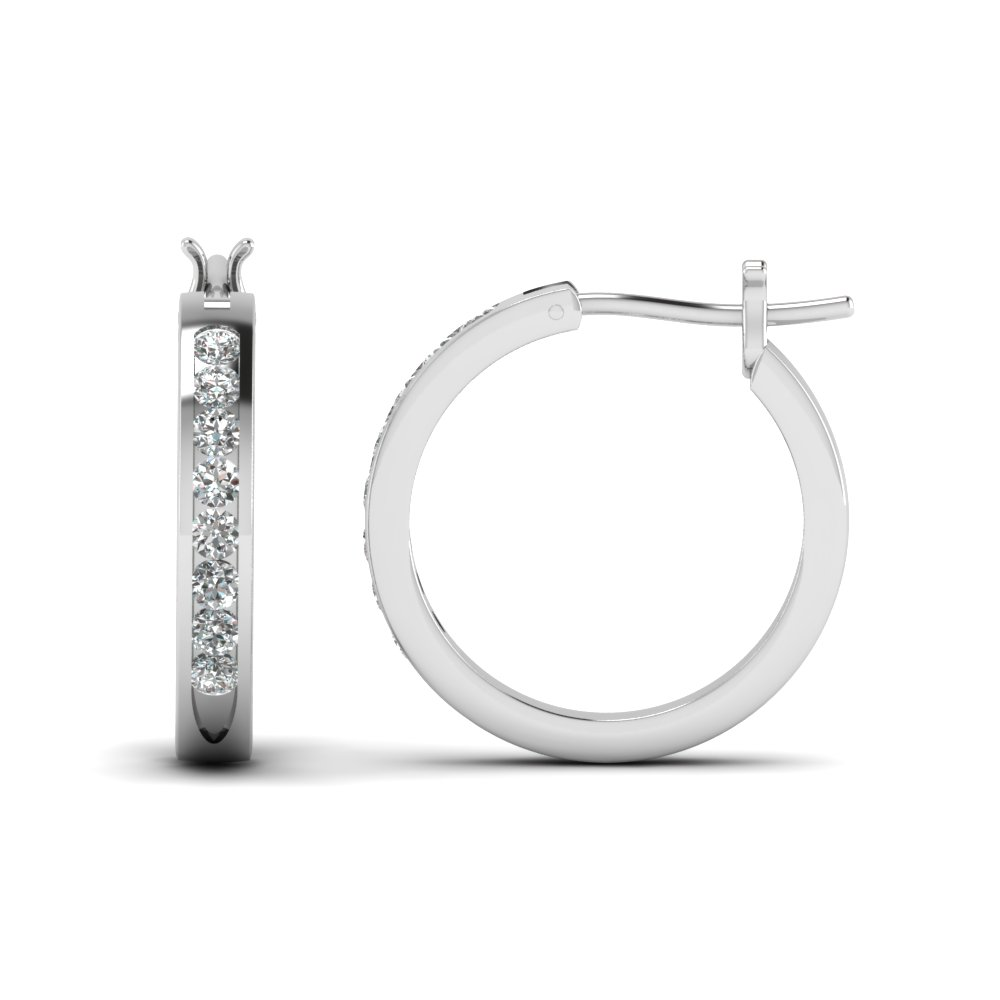 half carat diamond small hoop earring in FDEAR3970 NL WG