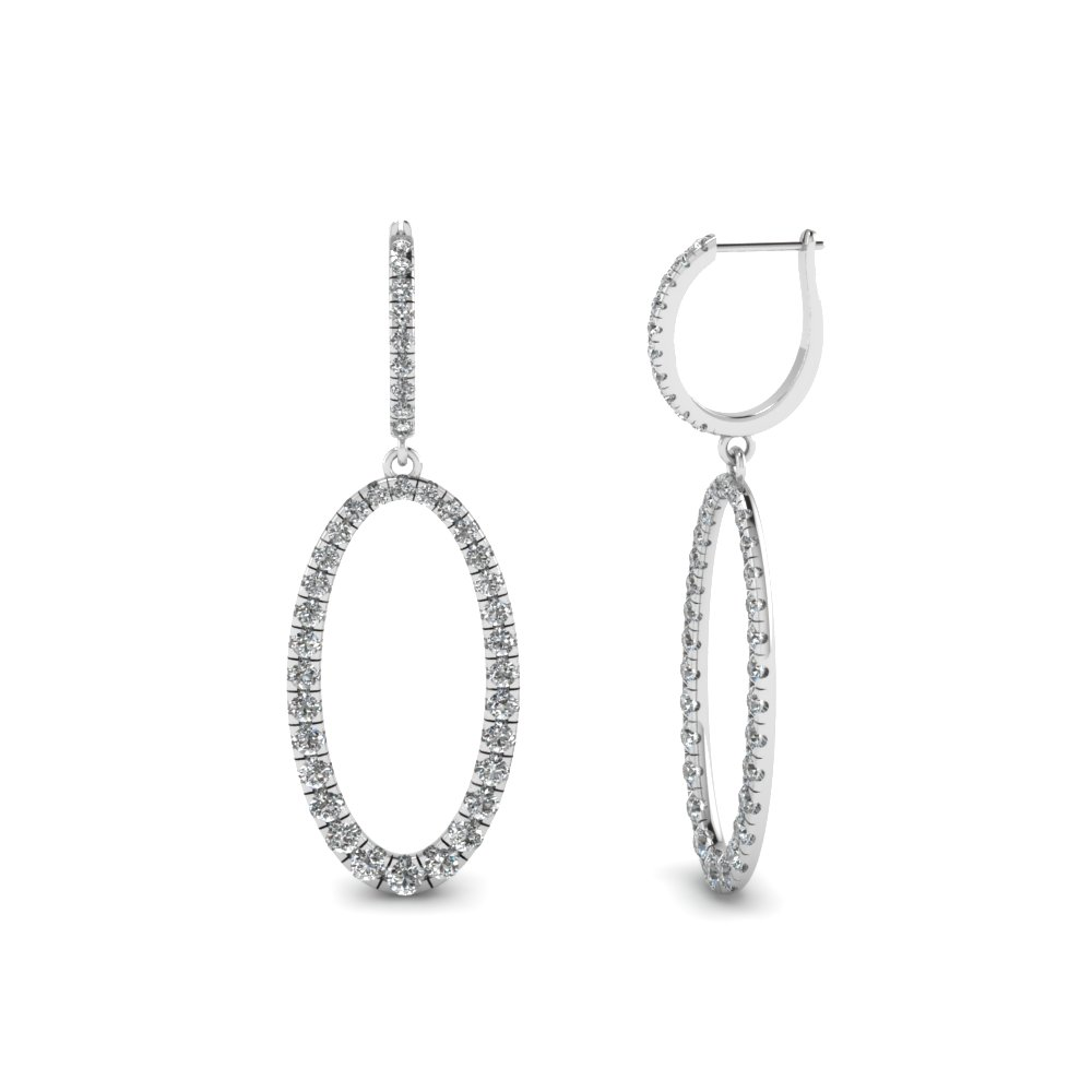 Huggie Oval Design Diamond Drop Earring