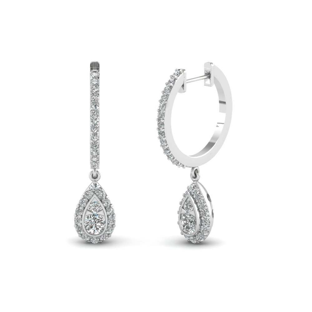 pear halo drop hoop diamond earring in 14k white gold