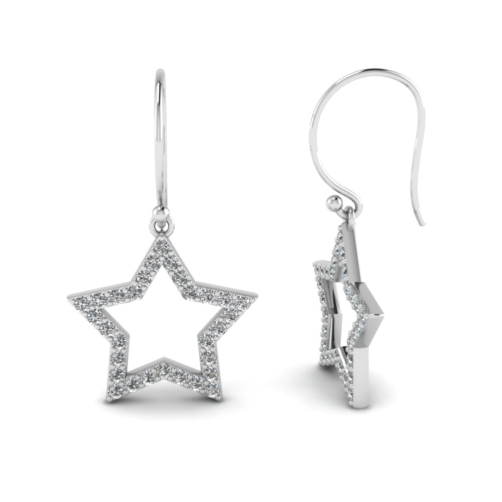 Star Diamond Drop Earrings