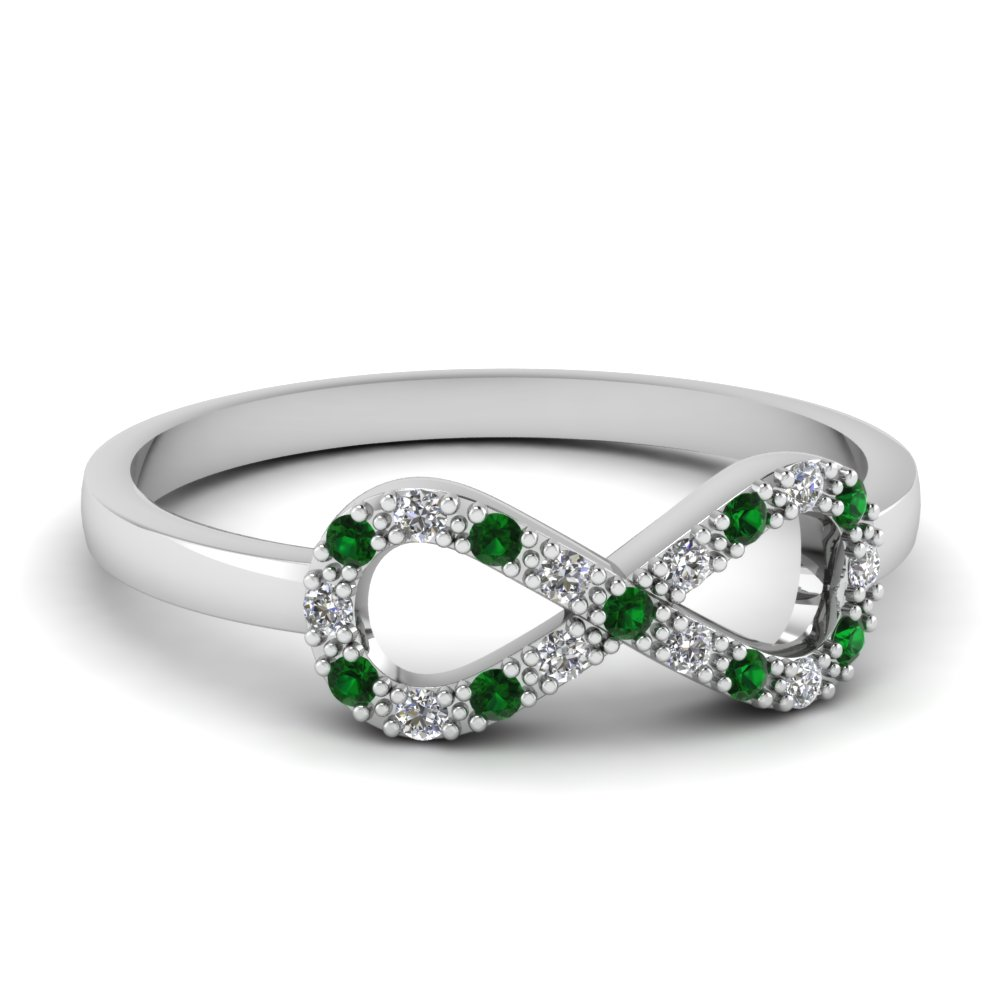 infinity diamond promise ring with emerald in FD651088RGEMGR NL WG