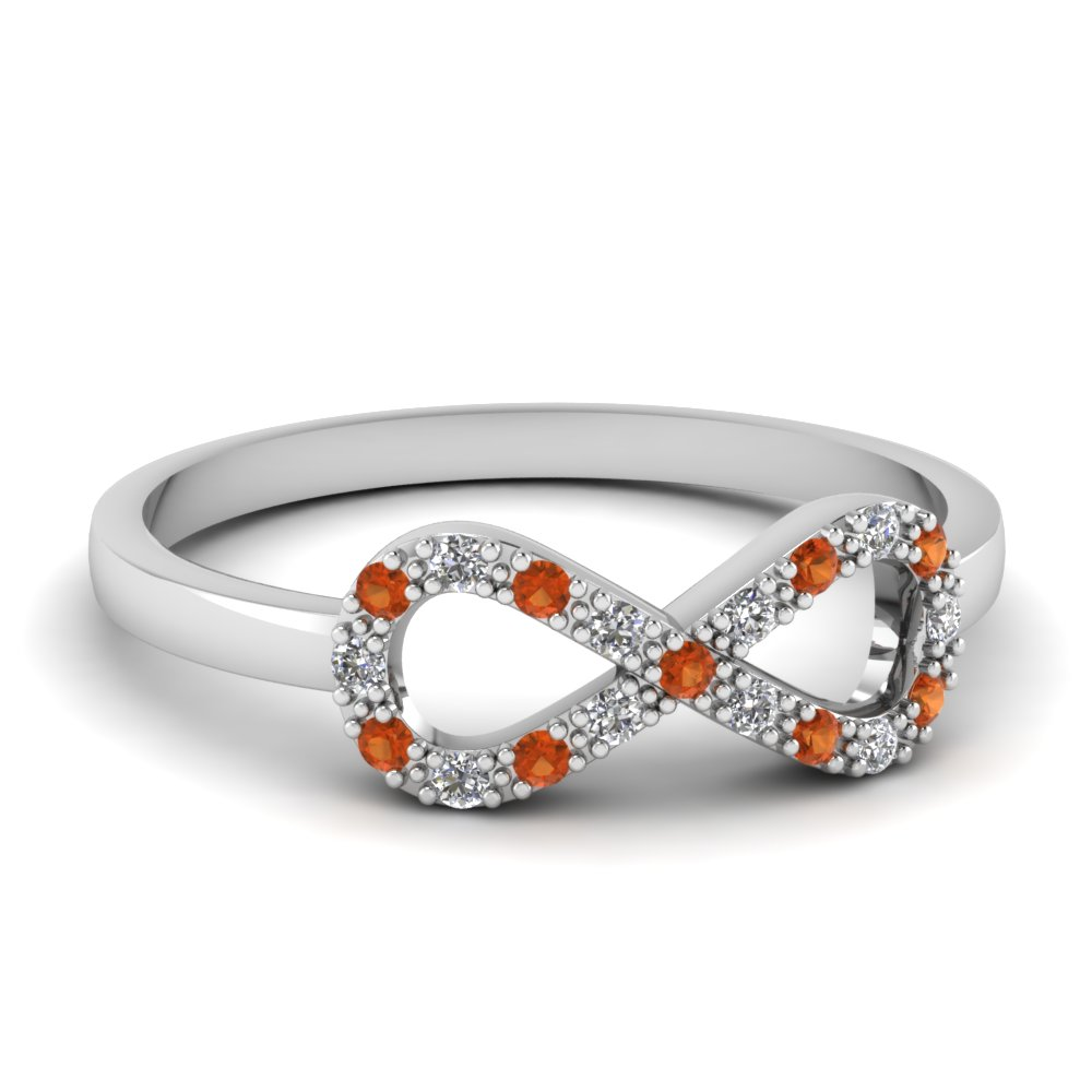 infinity diamond promise ring with orange sapphire in