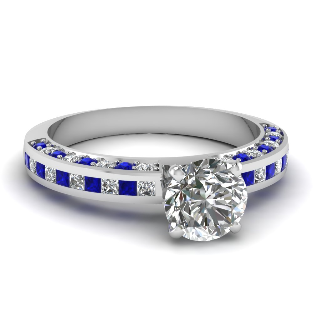 Round Cut Alternating Sapphire Engagement Rings
