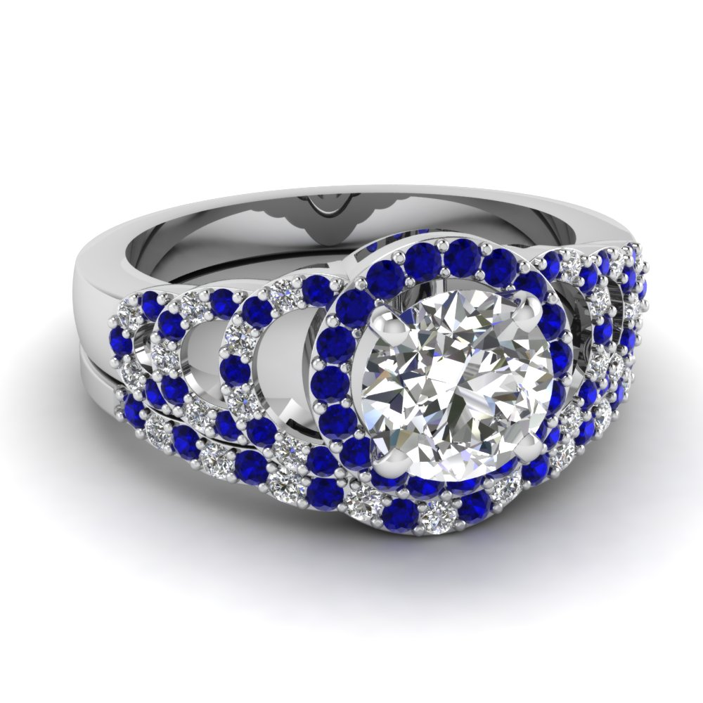 Sapphire Round Halo Diamond Wedding Ring Set