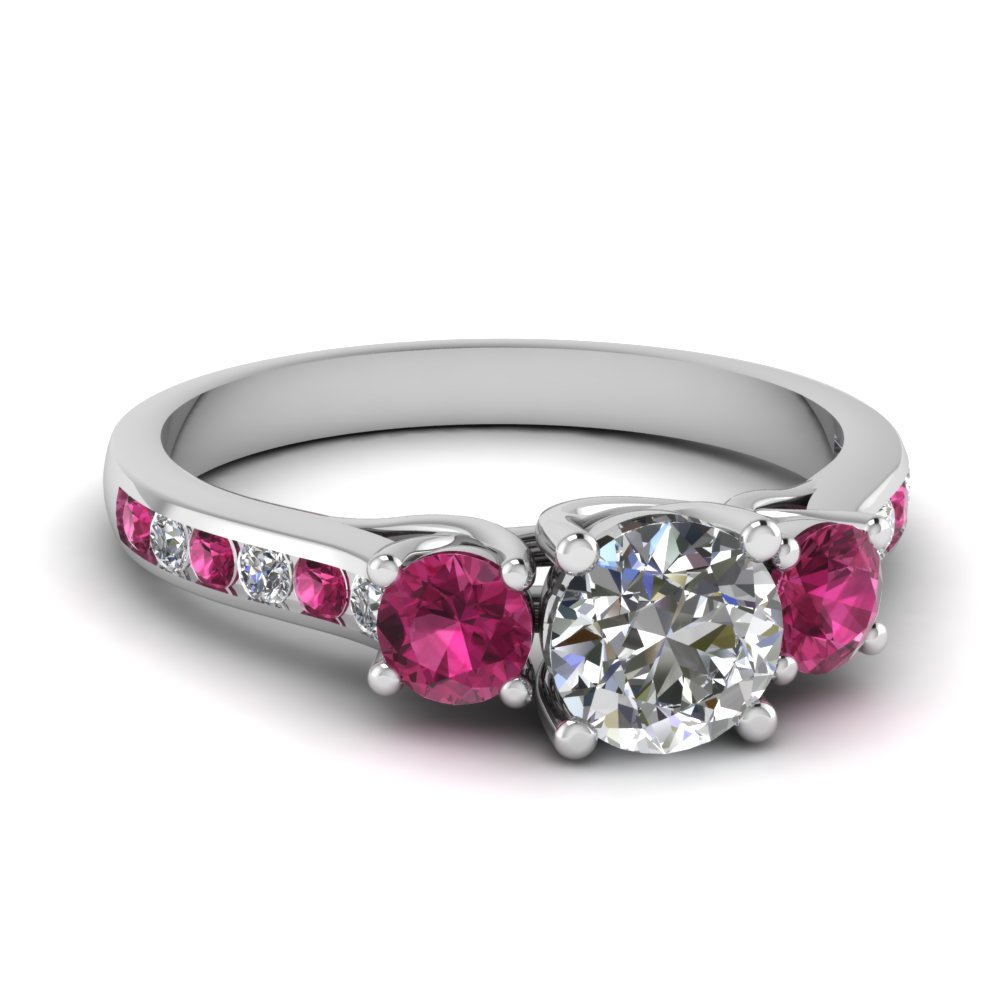 trellis channel set 3 stone moissanite engagement ring with pink sapphire in FDENR6134RORGSADRPI NL WG