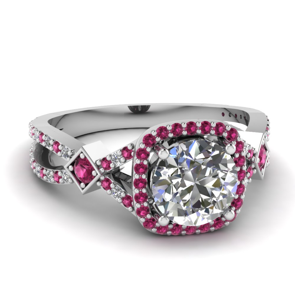 micropave pink sapphire halo diamond engagement ring in FDENR9179RORGSADRPI NL WG
