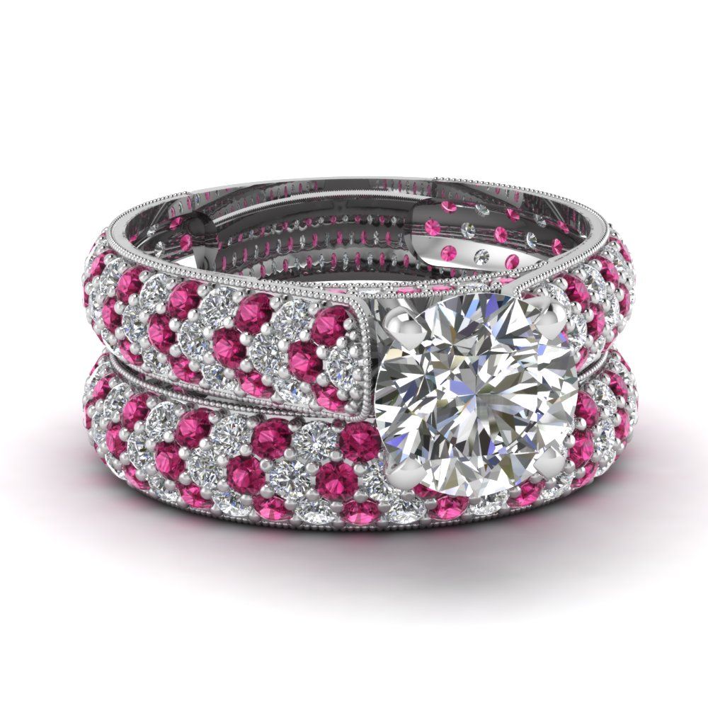 Round Pink Sapphire Wedding Ring Set
