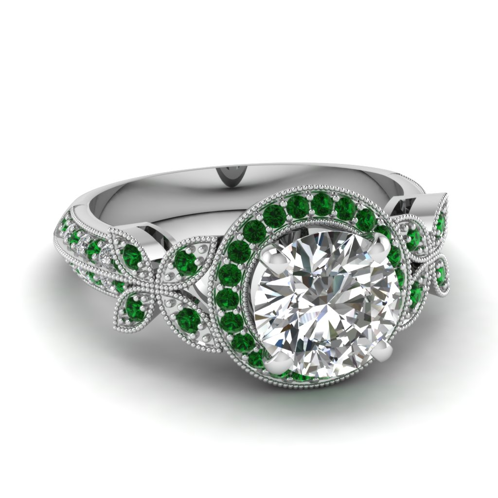 Pave Set Emerald Engagement Ring