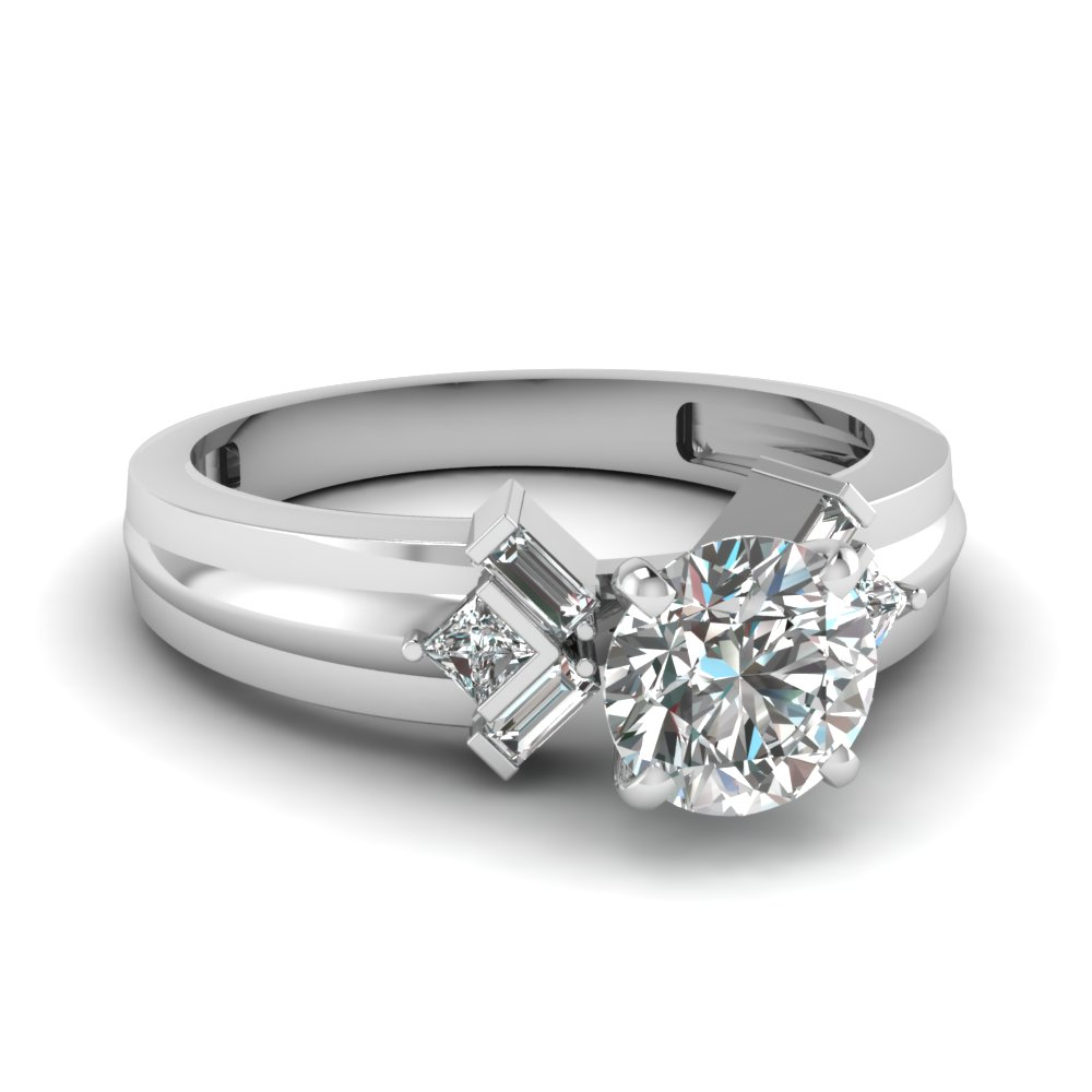 round cut bar baguette diamond engagement ring in FD120699ROR NL WG