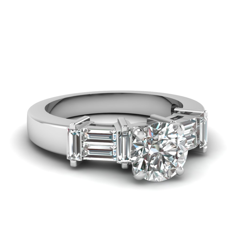 Baguette With Round Diamond Ring