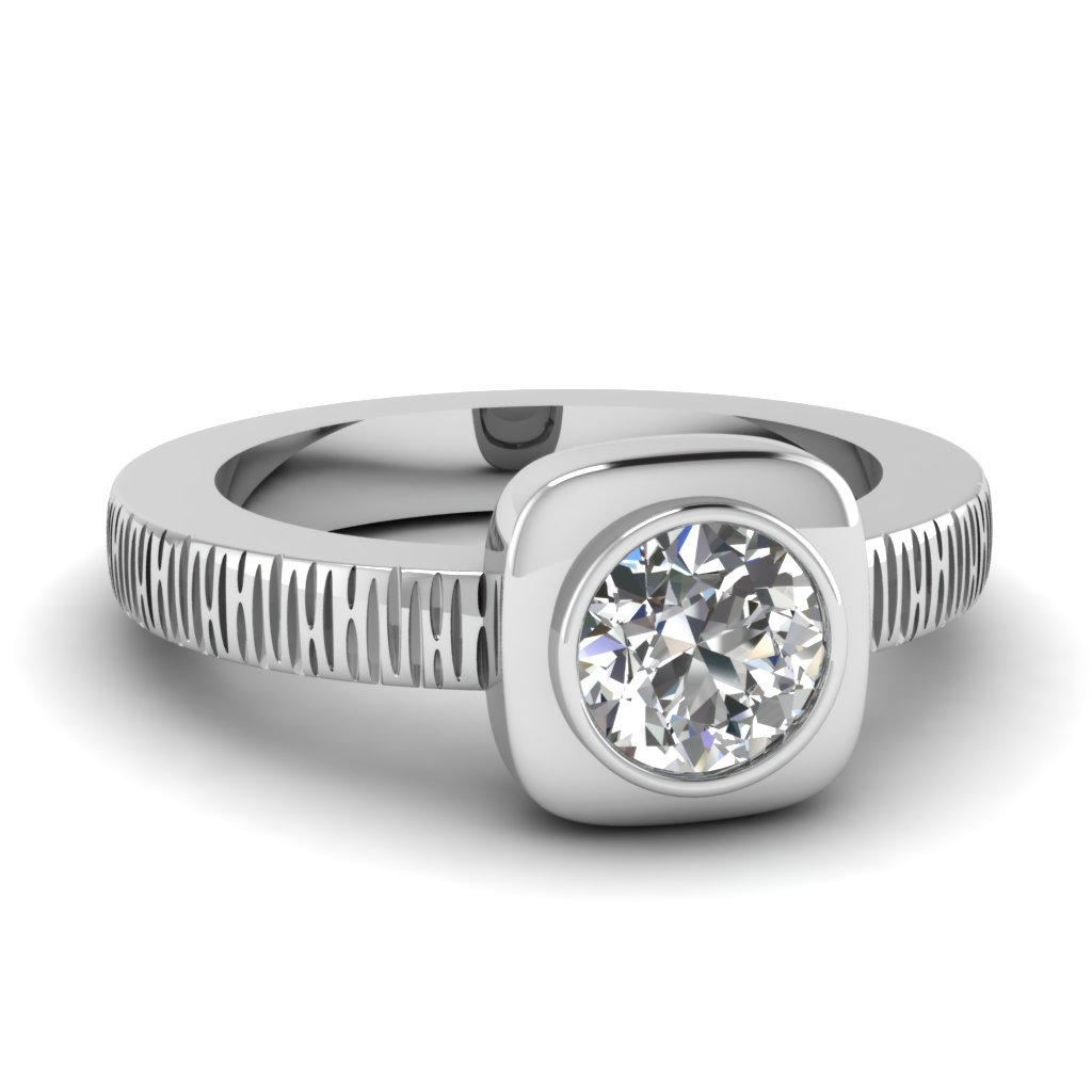 Bezel Set 14k White Gold Solitaire Ring