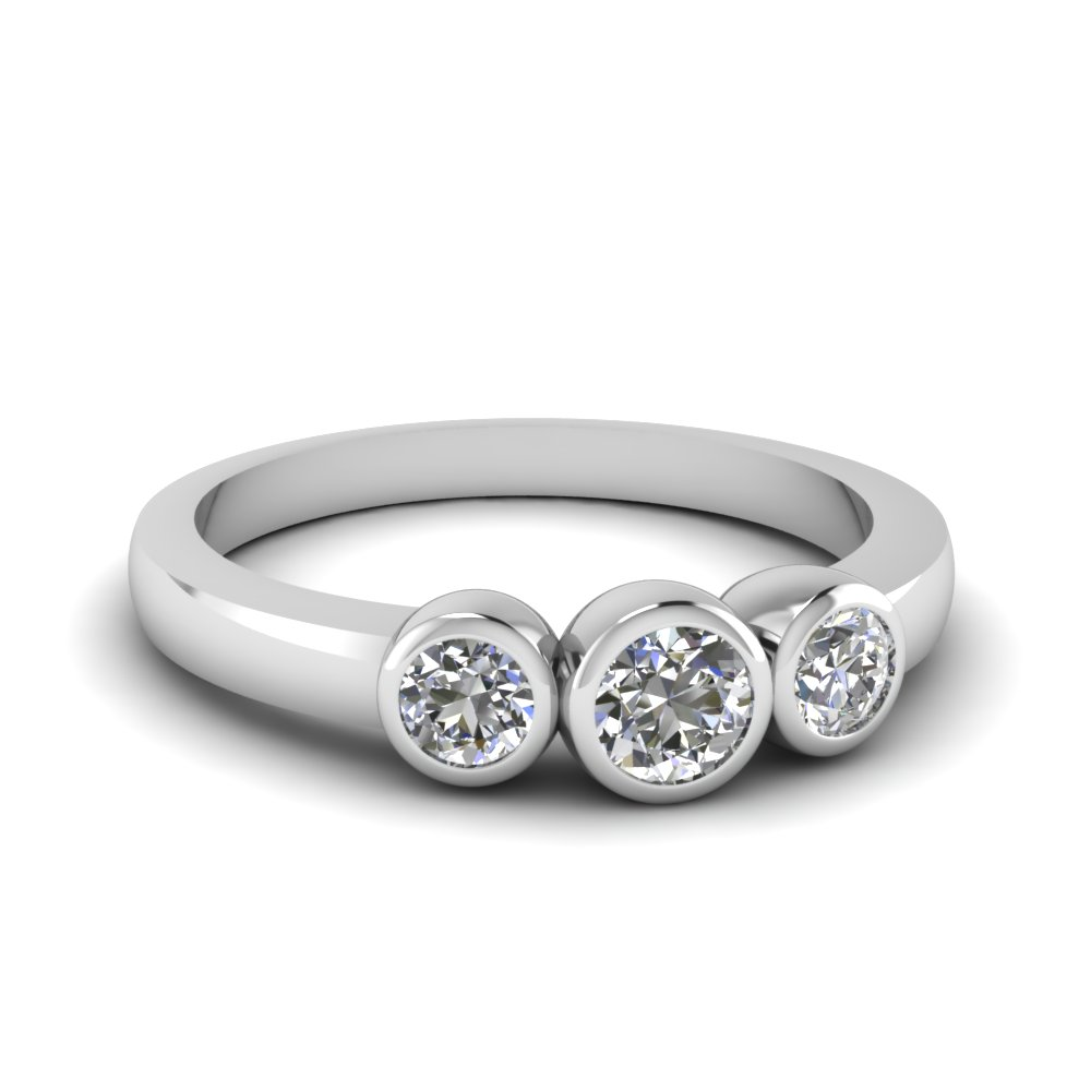 Bezel Three Stone Anniversary Ring