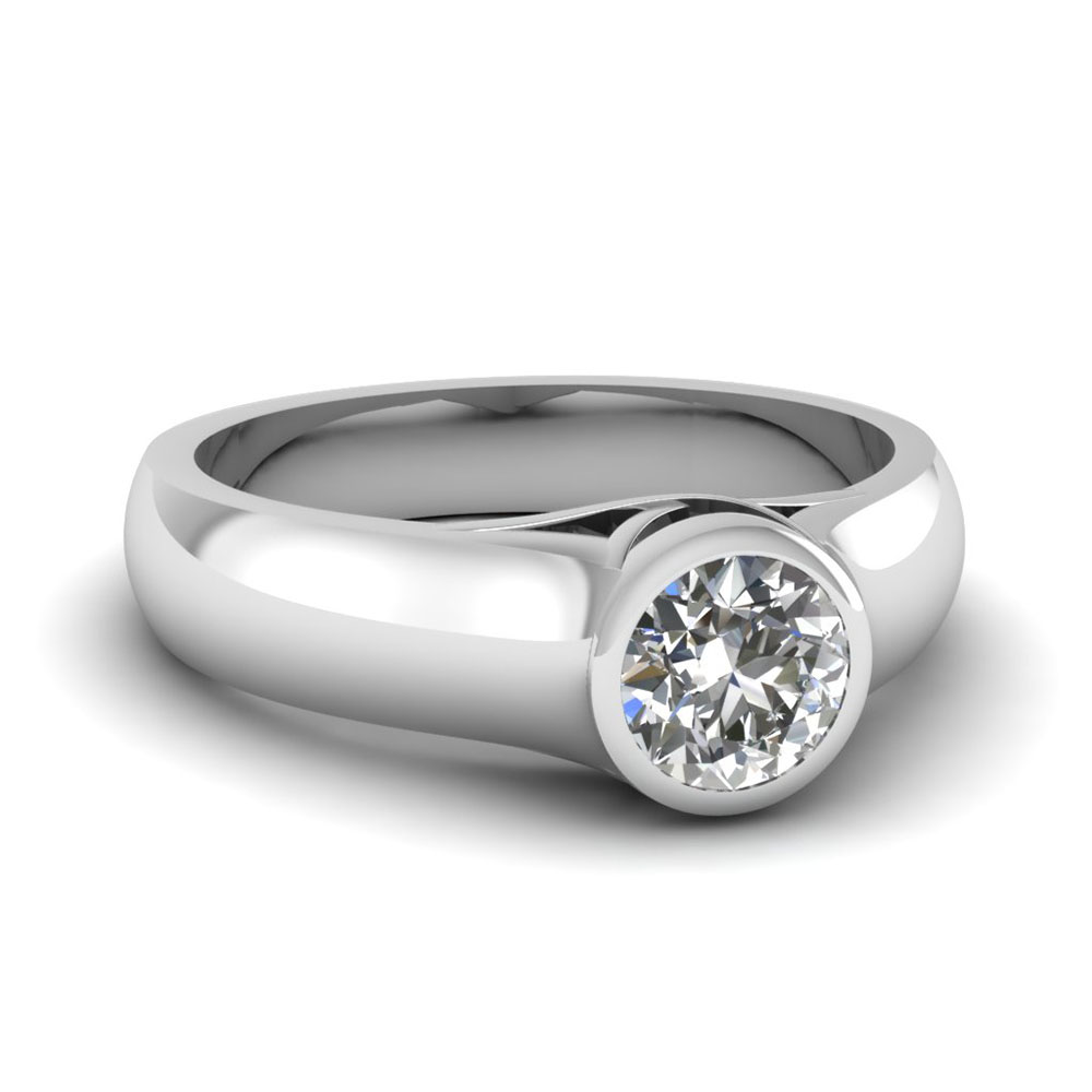 accents contemporary engagement semi a gypsy diamond set ring product with bezel