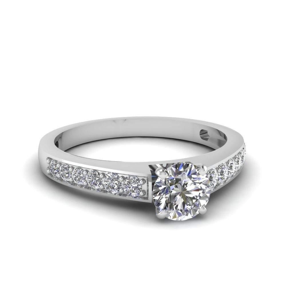 round cut pave diamond engagement ring in FDENS3002ROR NL WG 30