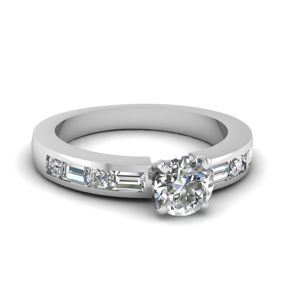 channel set baguette round diamond engagement ring in FDENS567ROR NL WG