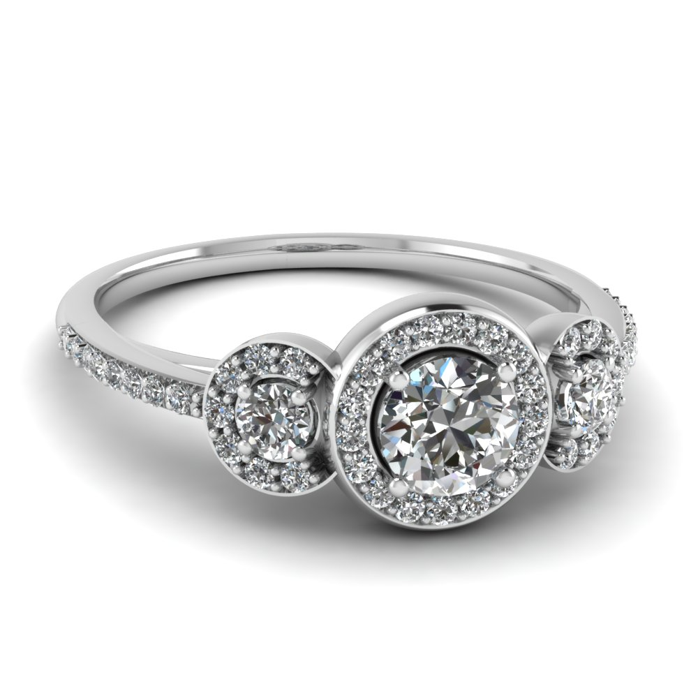 Art Deco 3 Stone Halo Anniversary Ring