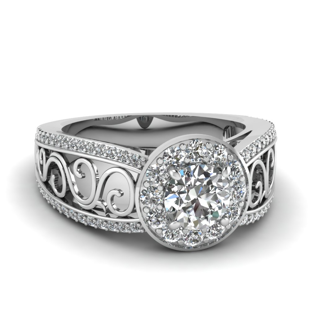 filigree diamond engagement ring with halo in FD121715ROR NL WG