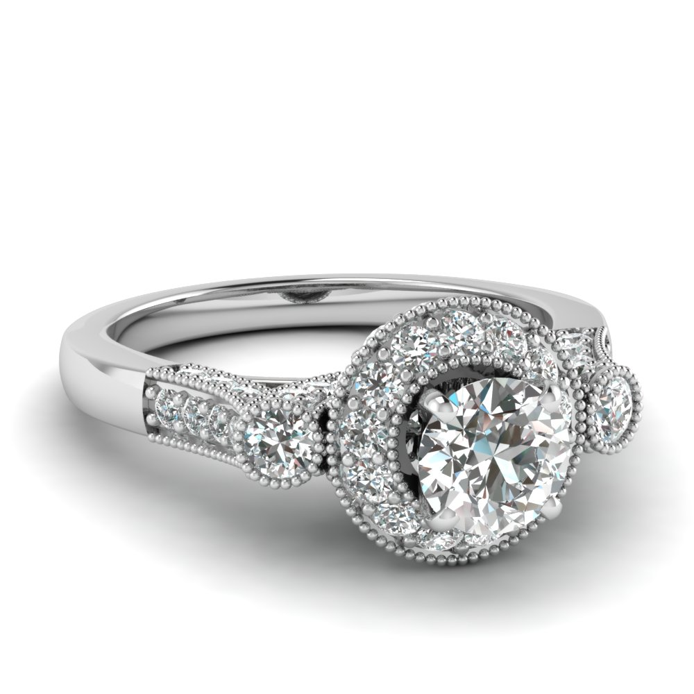 Round Cut Diamond Milgrain Engagement Ring