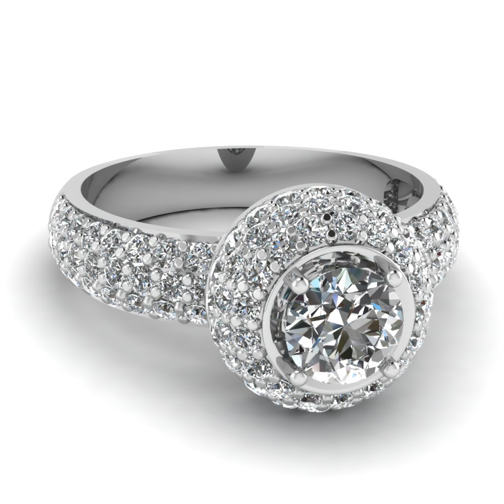 Round Diamond Platinum Halo Ring