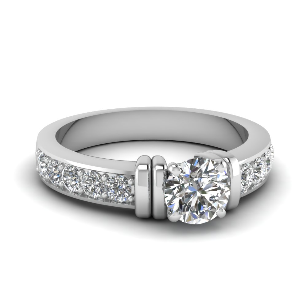 simple bar set round moissanite engagement ring in FDENR957ROR Nl WG