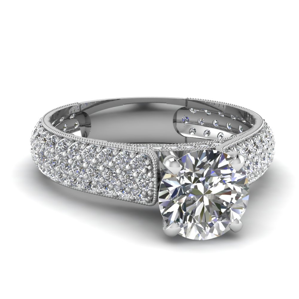 Round Diamond Milgrain Ring