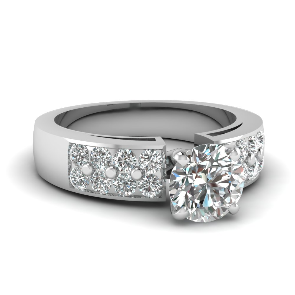 Thick Band Round Diamond Ring