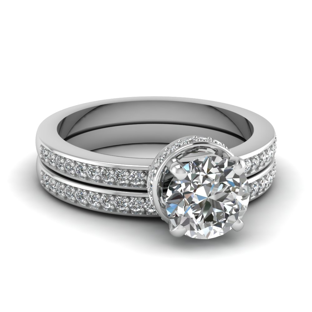 Petite Pave Crown Diamond Wedding Ring Set In 14K White