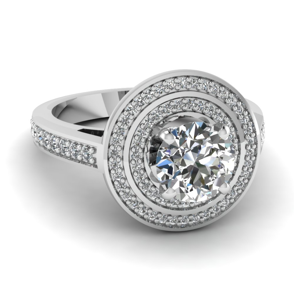 Round Diamond Double Halo Engagement Ring