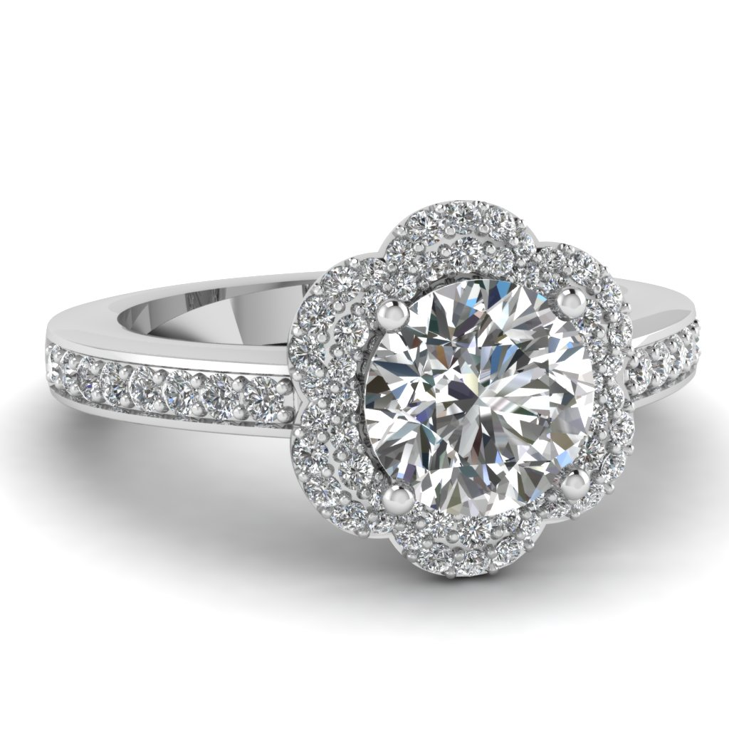 Double Halo Flower Engagement Ring in White Gold