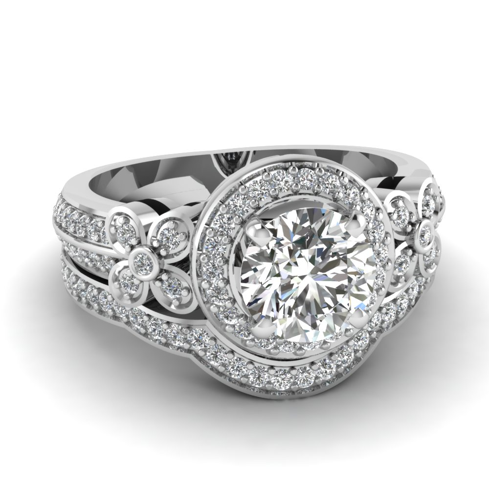 Round Halo Flower Diamond Stunning Engagement Ring and Wedding Band