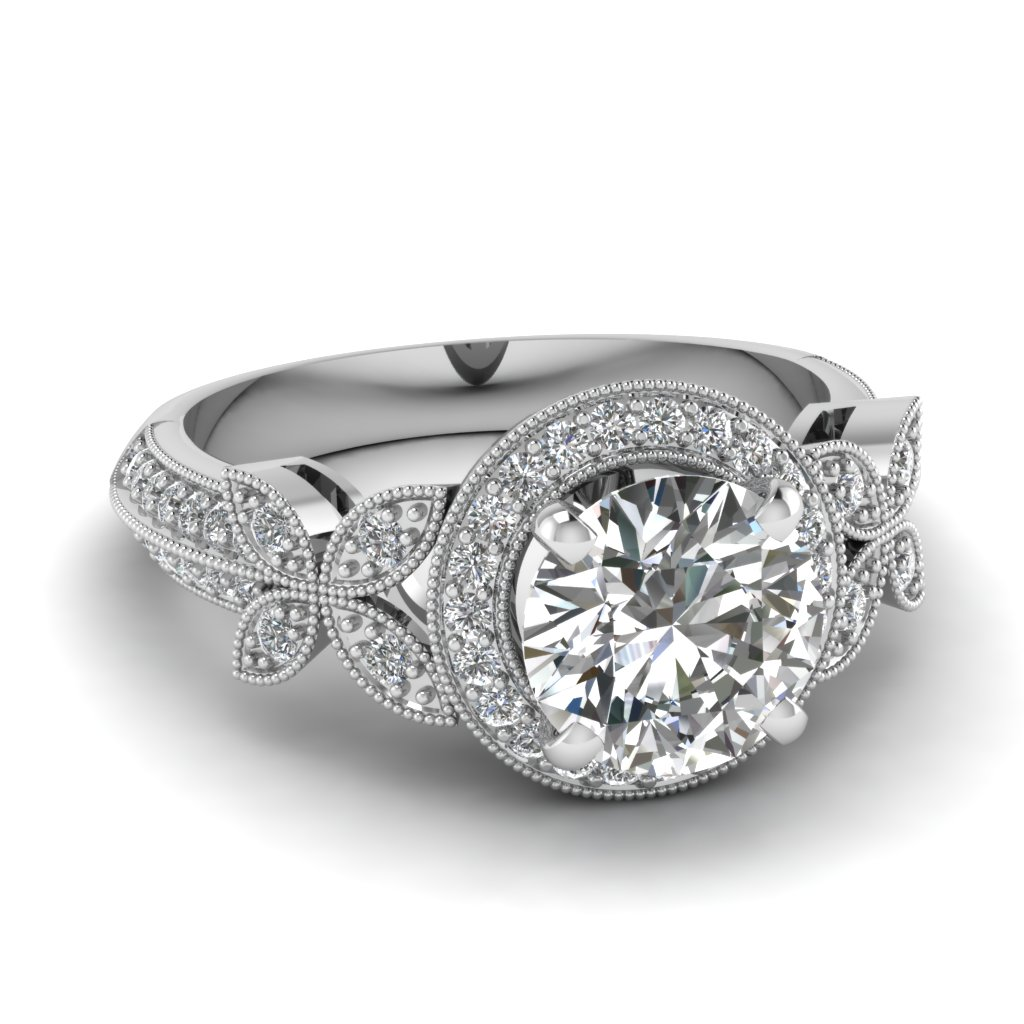 Half Carat Round Cut Diamond Engagement Ring