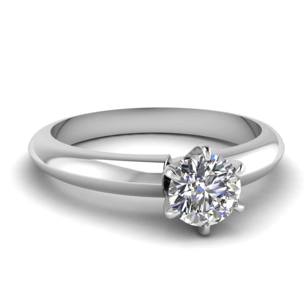 solitaire dome diamond engagement ring in FD1023ROR NL WG