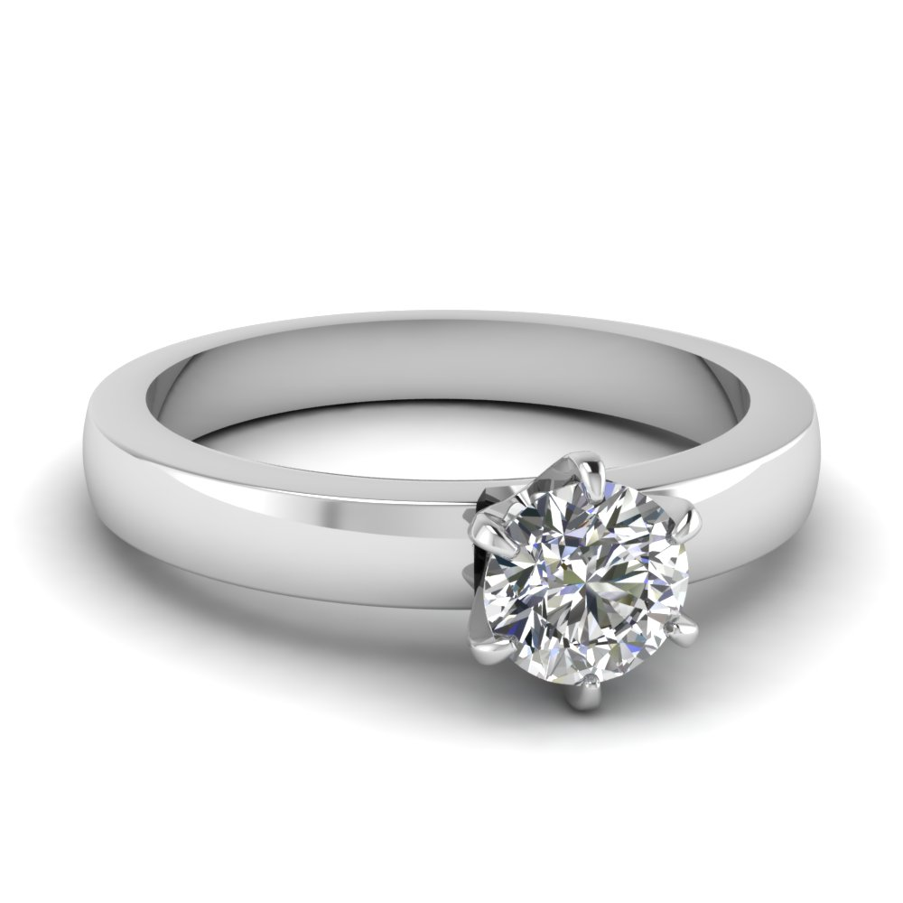 6 Prong Solitaire Round Diamond Engagement Ring In 950 Platinum