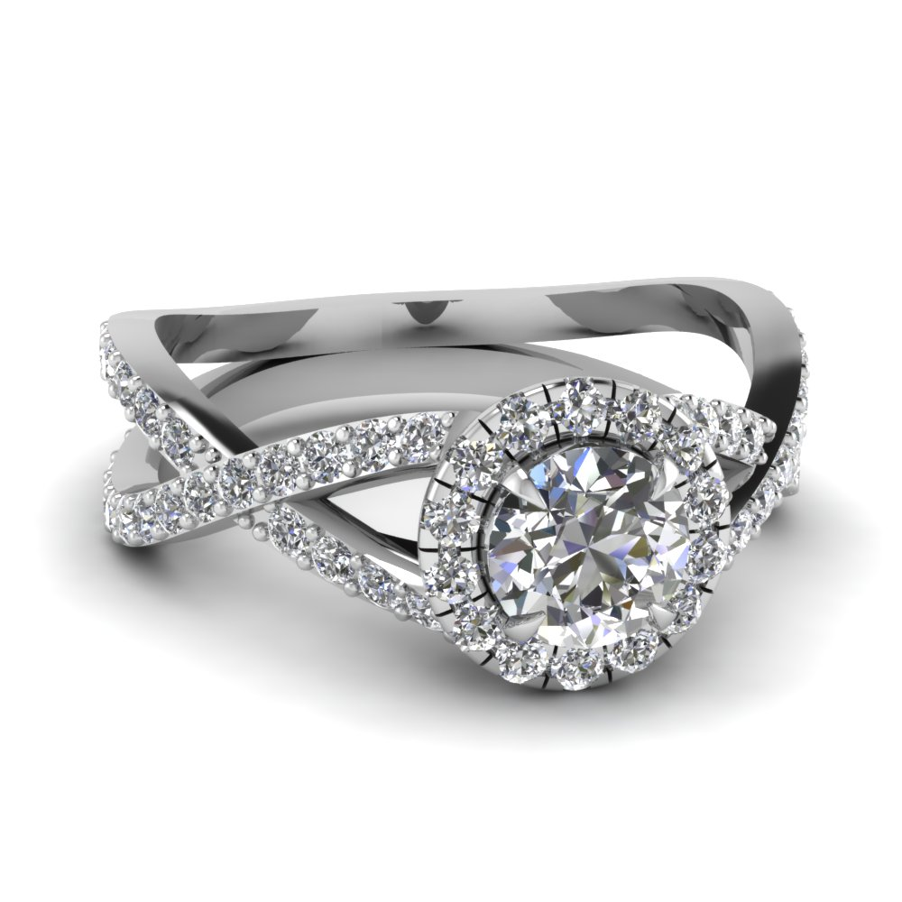 Tension Set Solitaire Engagement Ring In 18k White Gold