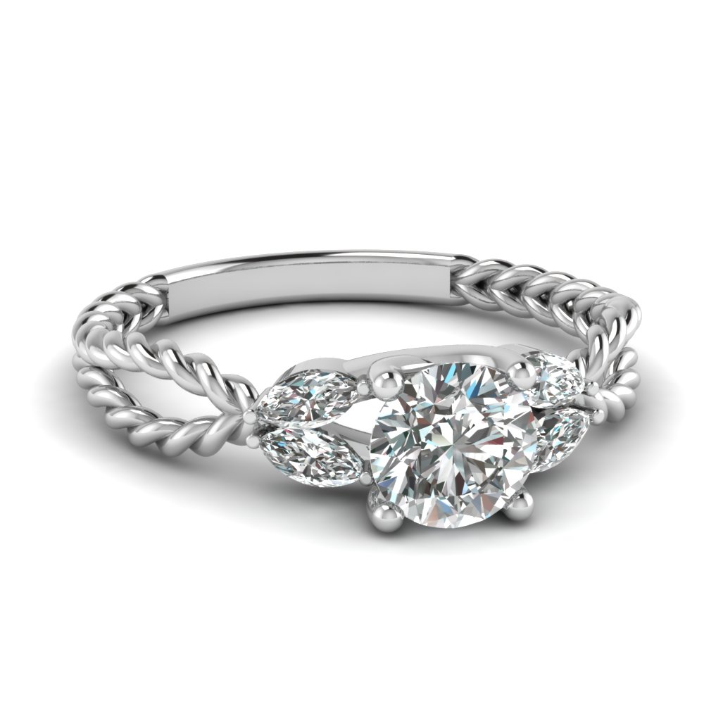 Twisted Vine Princess Cut Diamond Engagement Ring For