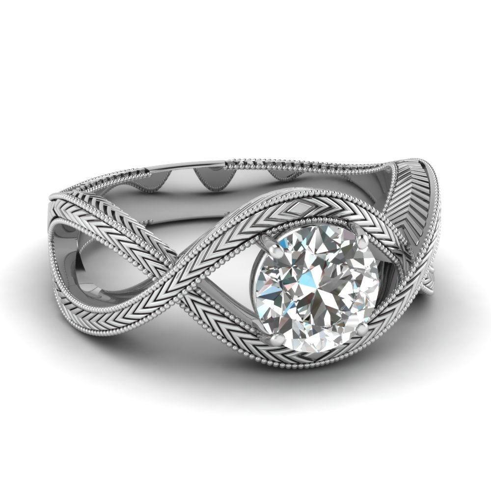 Milgrain Knotted White Gold Solitaire Ring