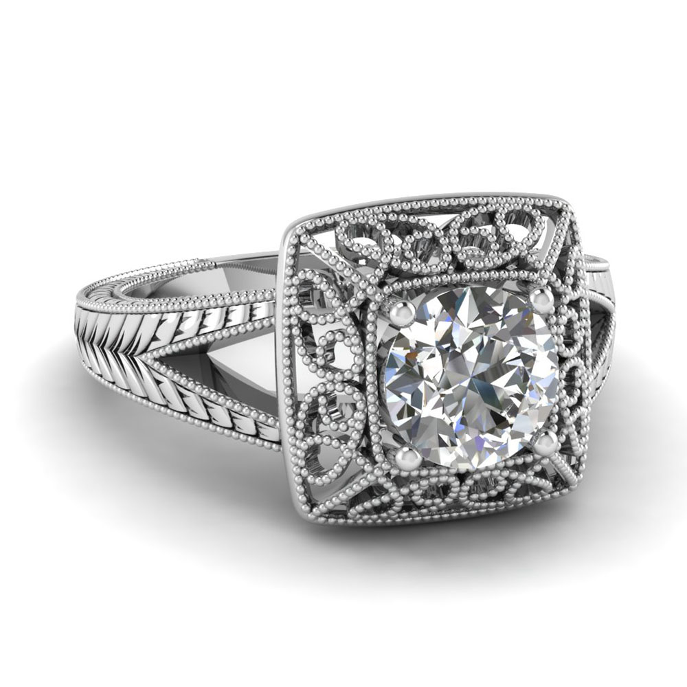 White Gold Milgrain Filigree Ring