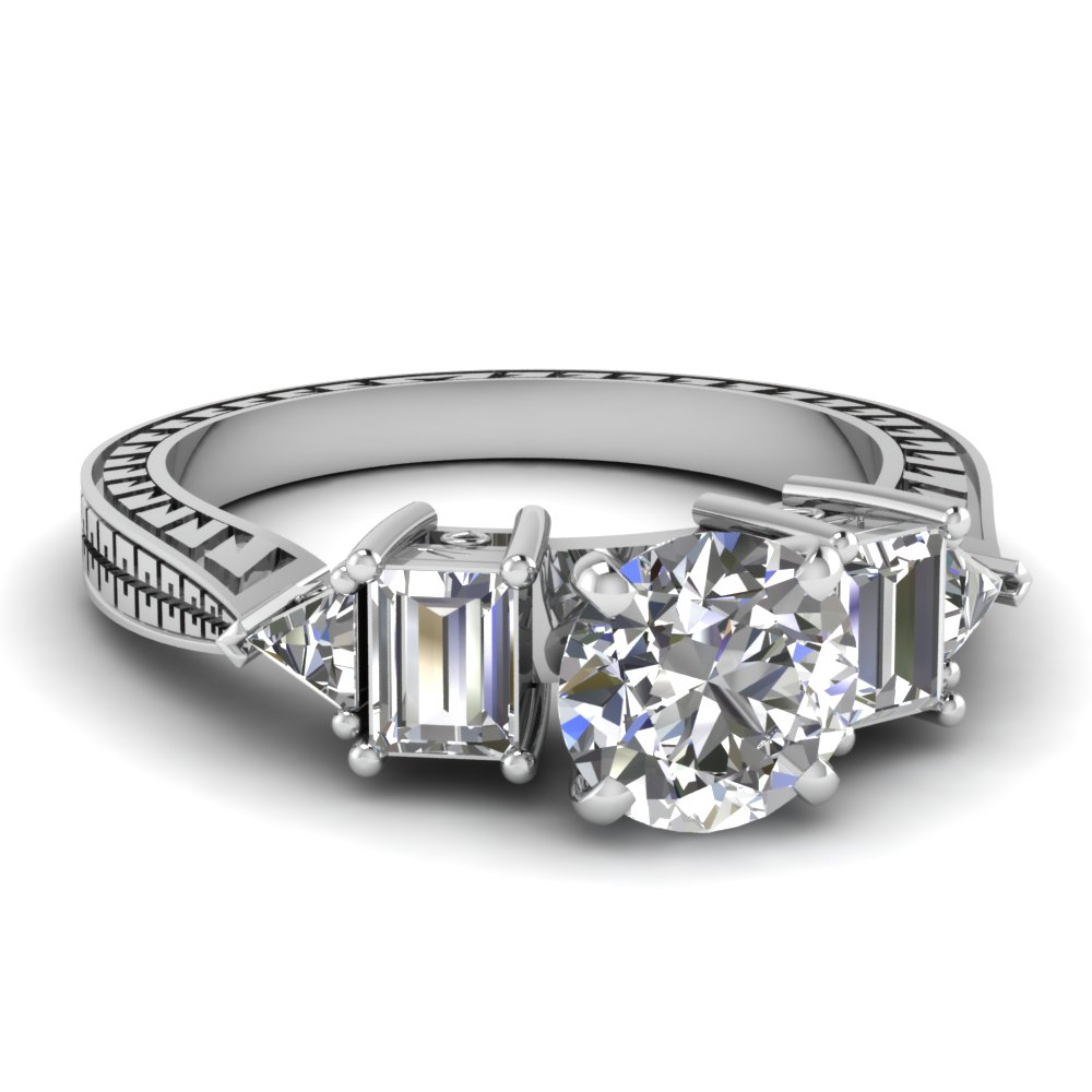 Trillion And Baguette Diamonds Accented Round Engagement Ring