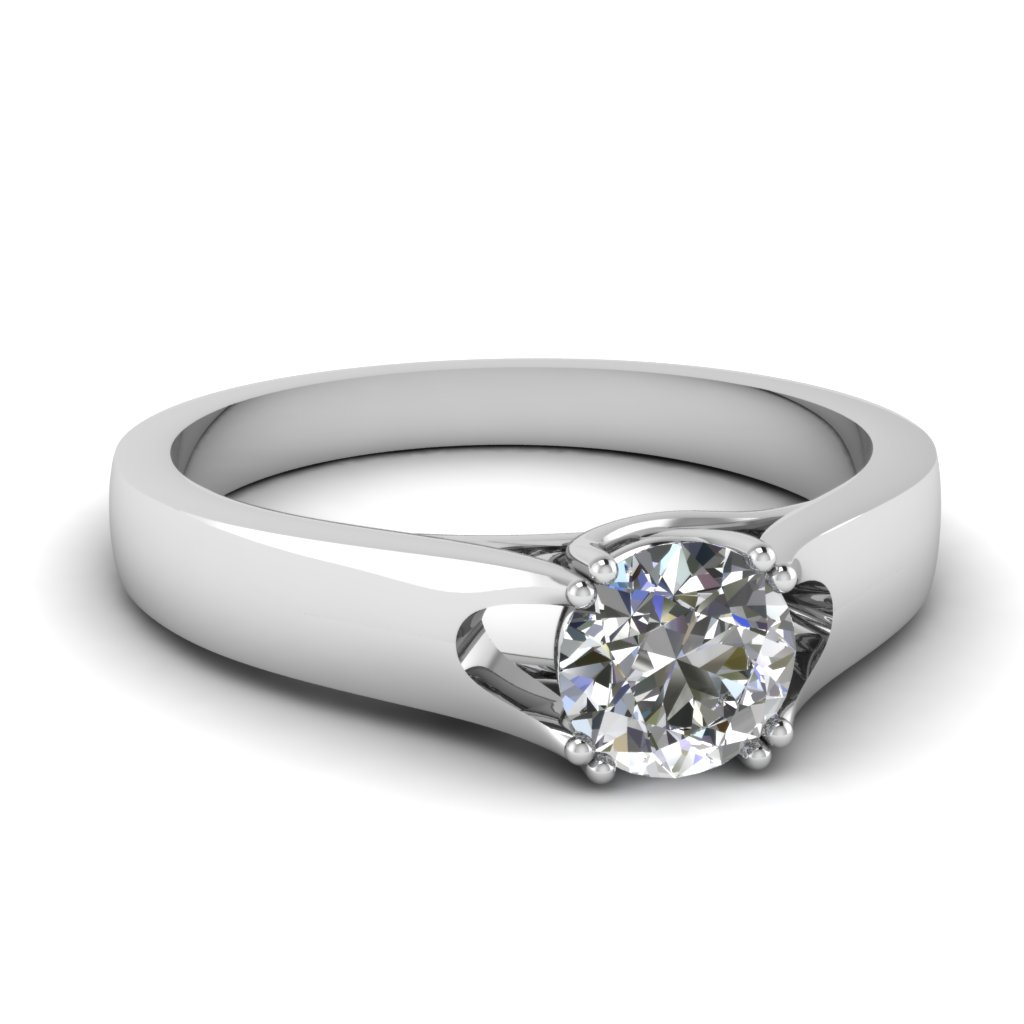 Curved Edged Solitaire Ring