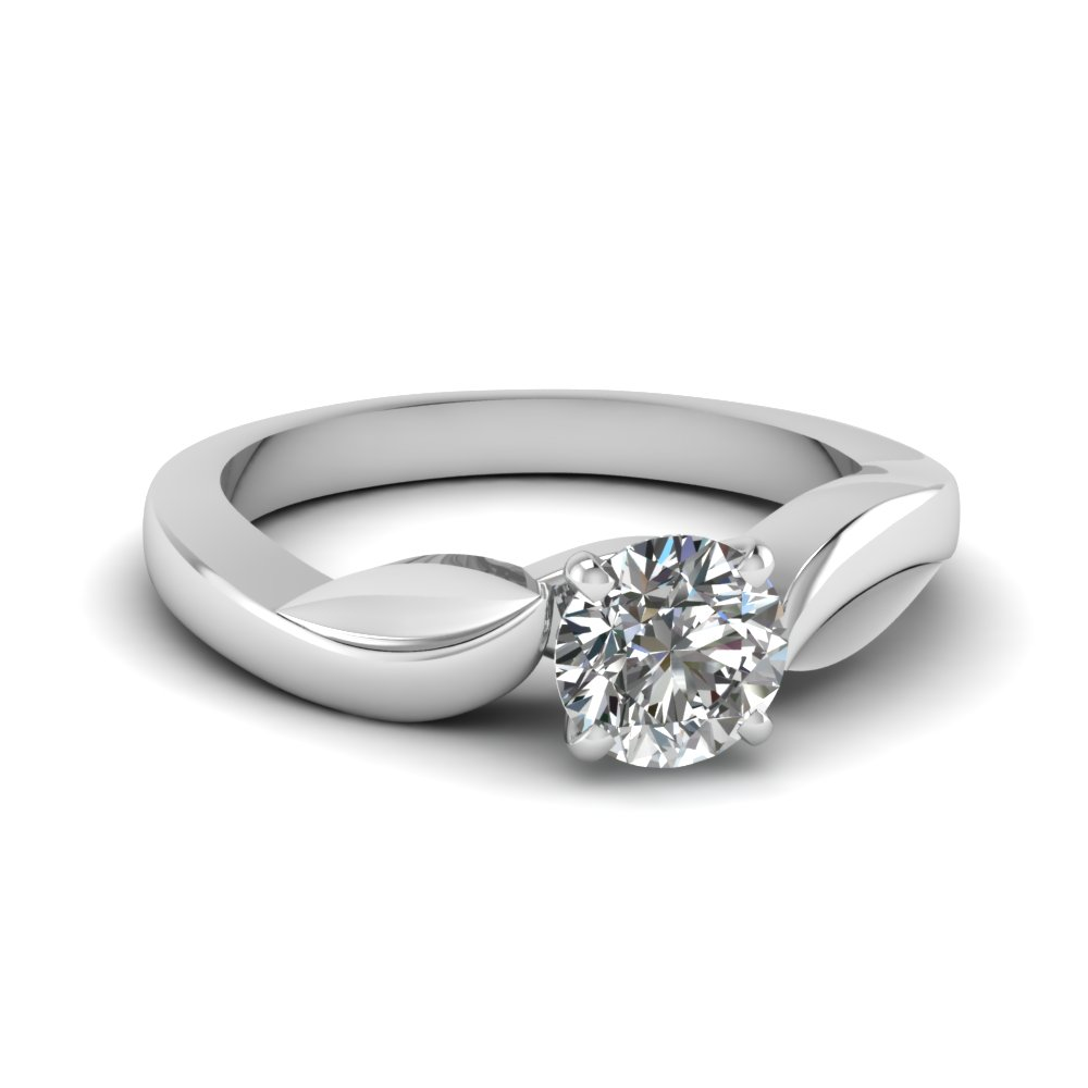 Leaf Round Cut Solitaire Ring