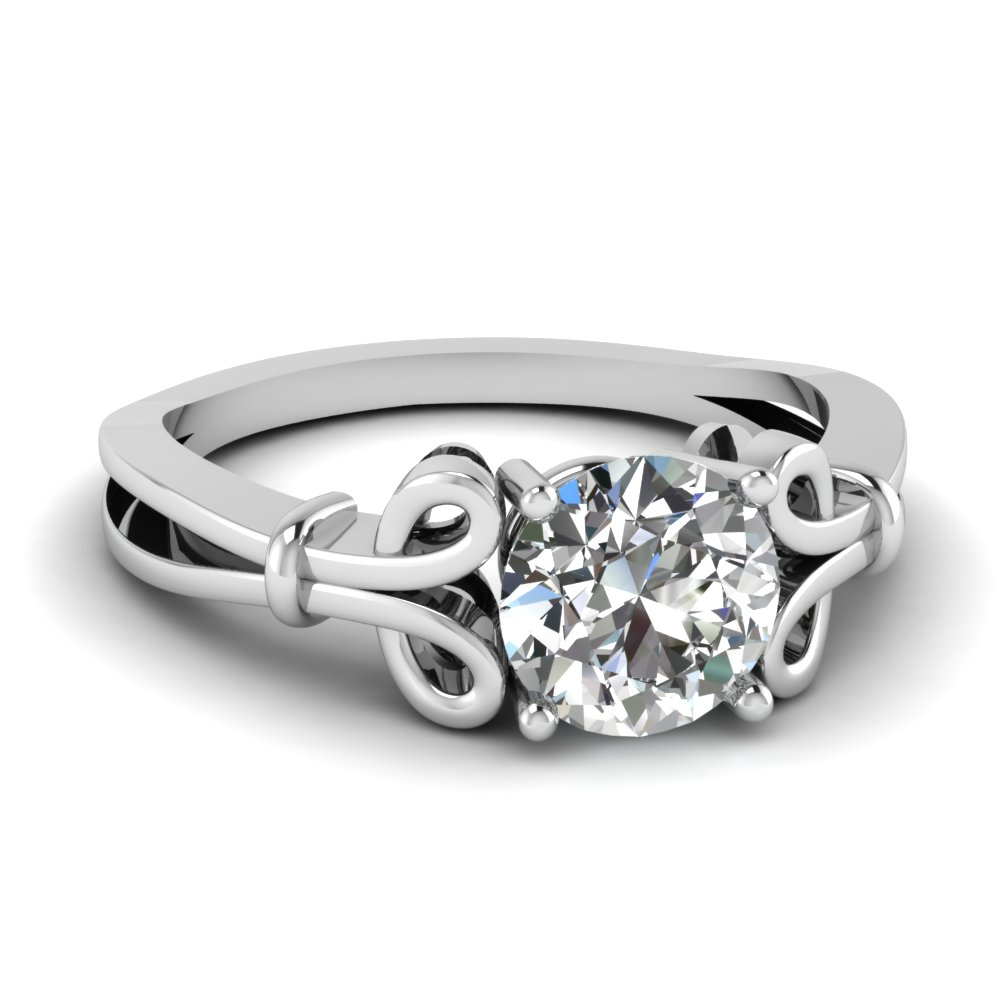 Bow Design 14k White Gold Solitaire Ring