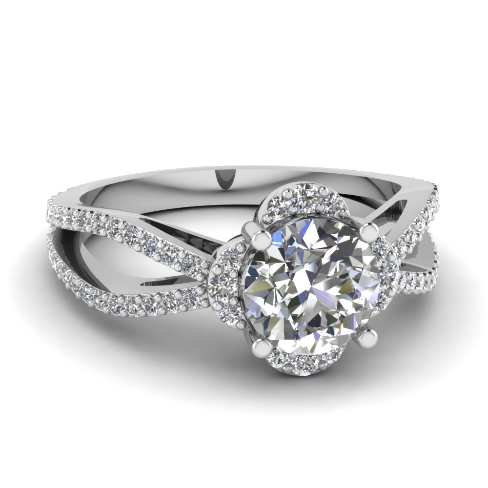 Split Shank Round Flower Modern Diamond Engagement Ring