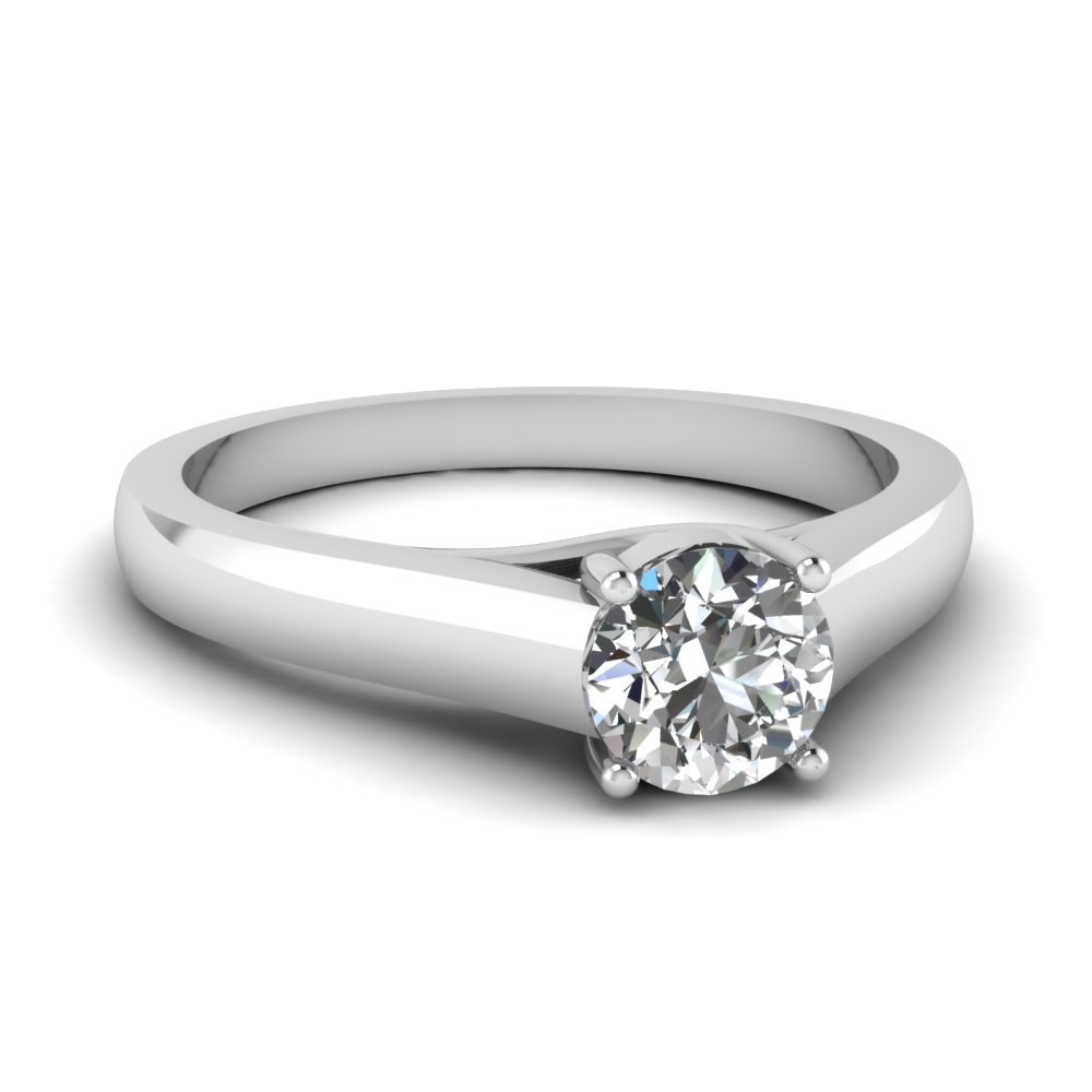 Plain Band 18k White Gold Round One Diamond Ring