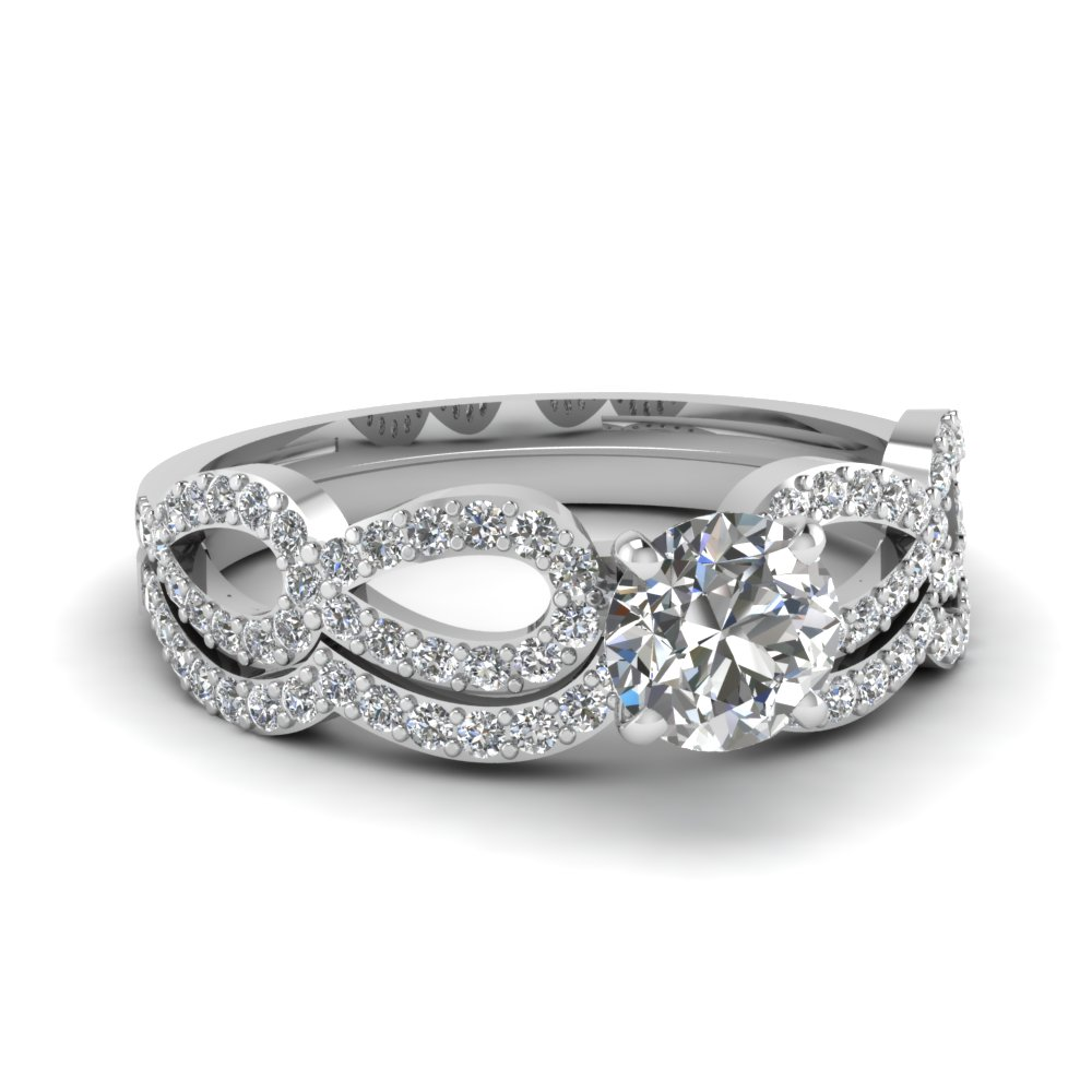 Platinum Round Diamond Wedding Ring Set