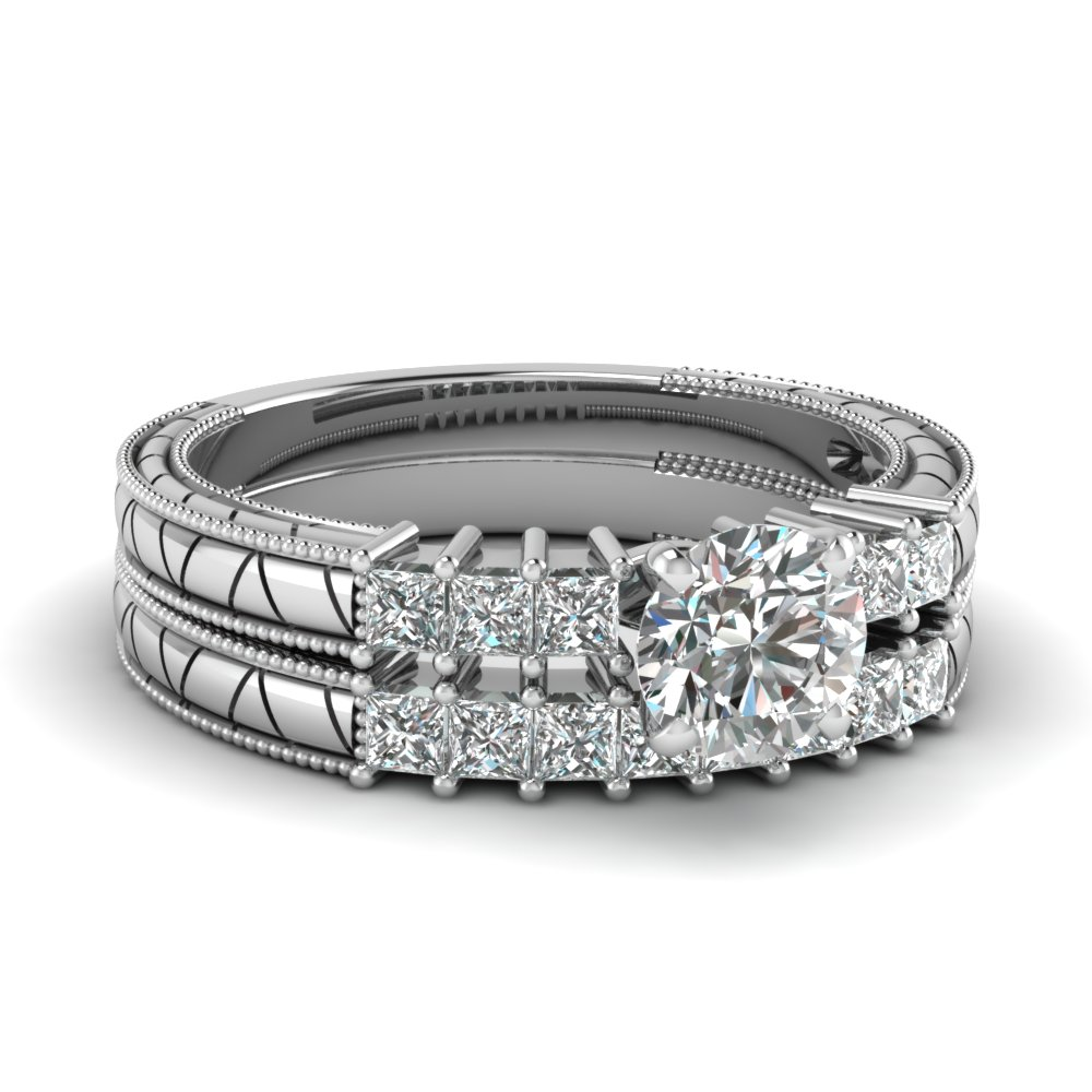 Princess Accents Round Diamond Engraved Bridal Sets