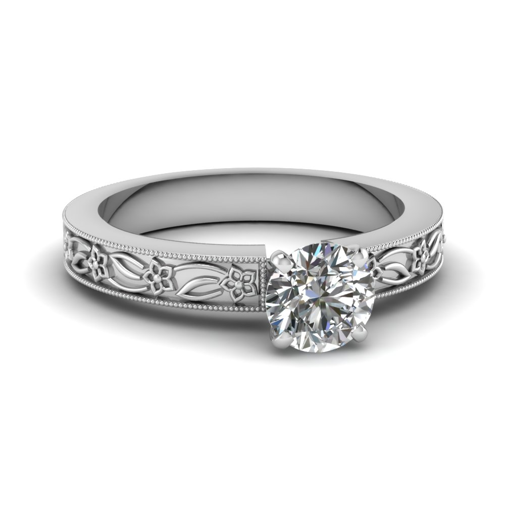 engraved flower round cut solitaire engagement ring in FDENS3537ROR NL WG