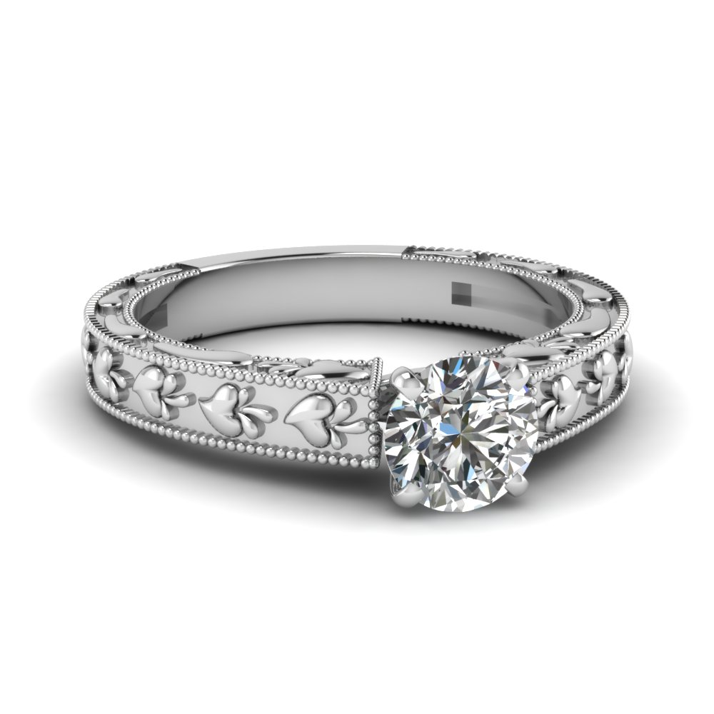 Heart Milgrain Diamond Ring