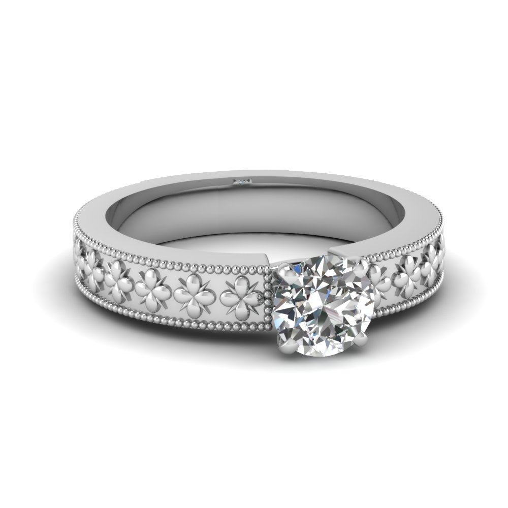 Floral Diamond Solitaire Ring