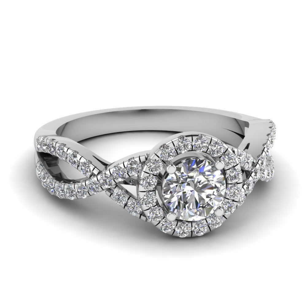 entwined halo diamond engagement ring in fdenr9320ror nl wg - Affordable Diamond Wedding Rings