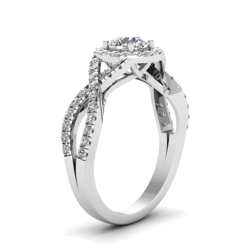 Low Set Halo Engagement Ring